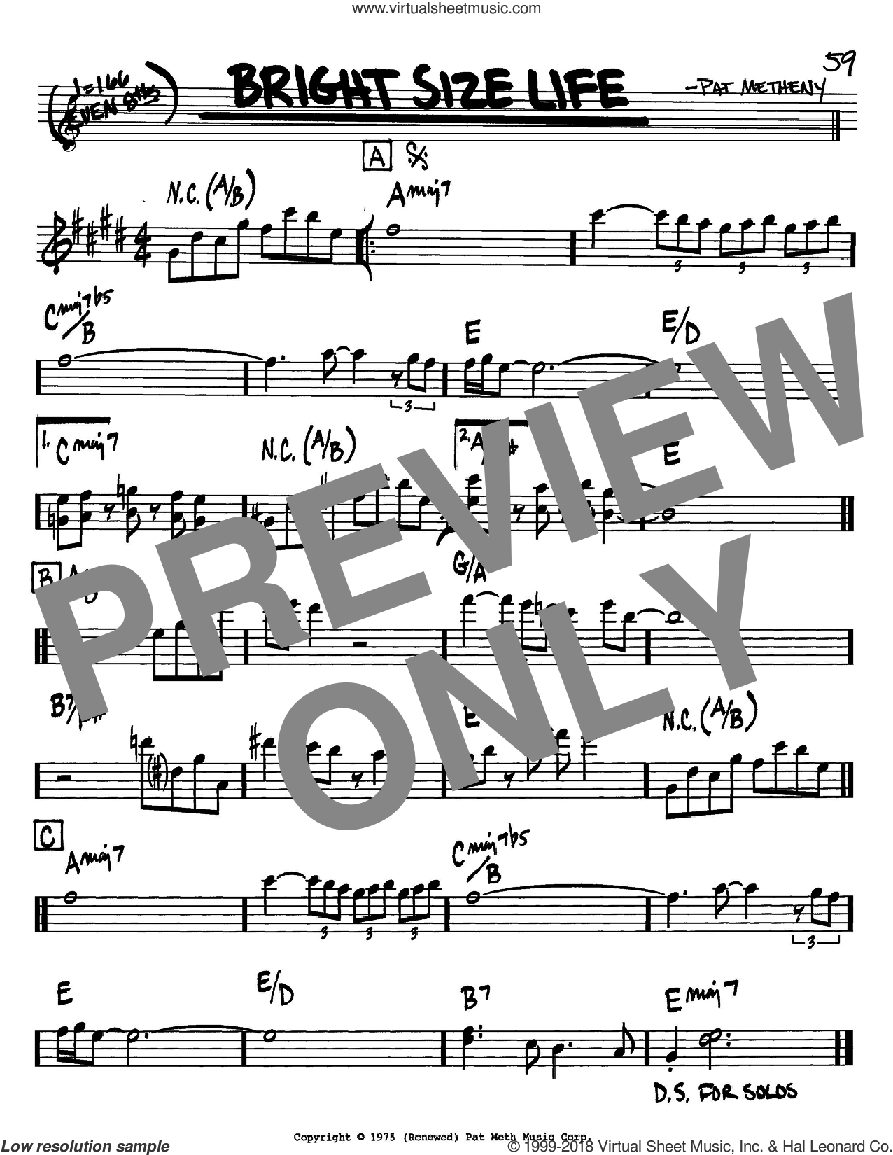 Bright Size Life sheet music for voice and other instruments (Bb) by Pat Metheny. Score Image Preview.