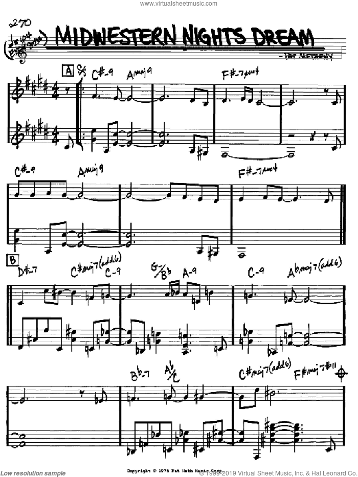 Midwestern Nights Dream sheet music for voice and other instruments (Bb) by Pat Metheny. Score Image Preview.