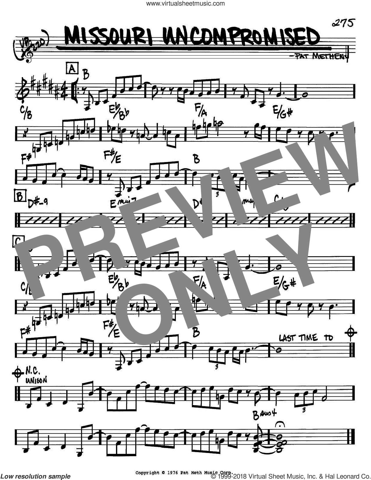 Missouri Uncompromised sheet music for voice and other instruments (Bb) by Pat Metheny. Score Image Preview.