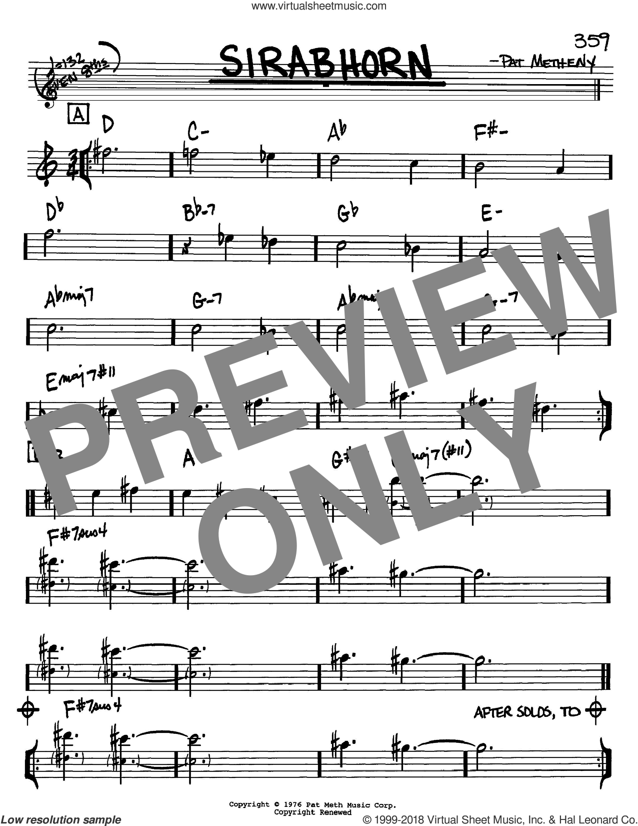 Sirabhorn sheet music for voice and other instruments (Bb) by Pat Metheny. Score Image Preview.