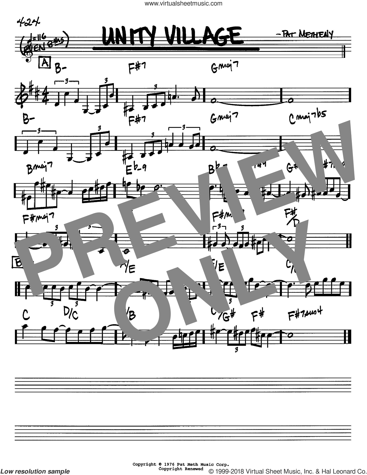 Unity Village sheet music for voice and other instruments (in Bb) by Pat Metheny, intermediate