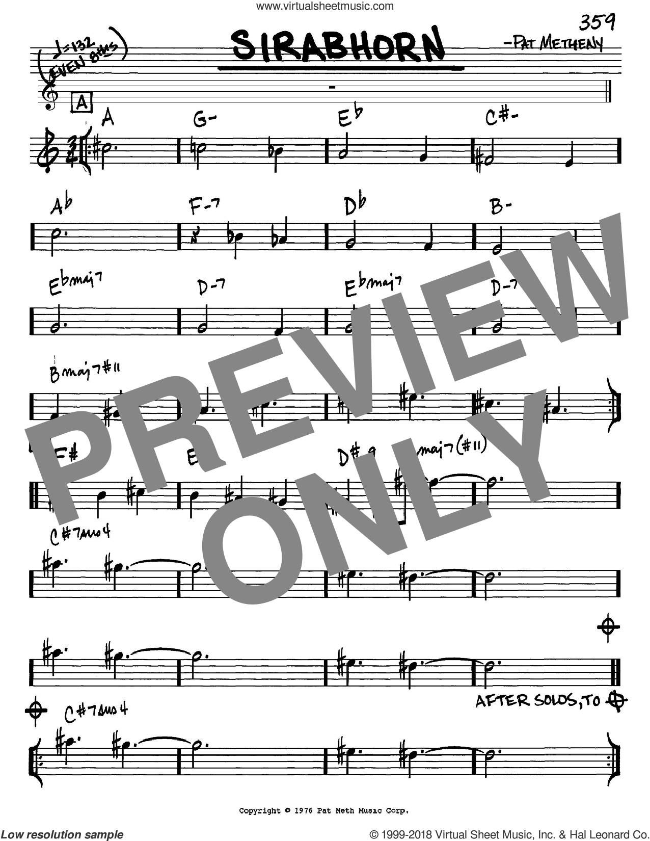 Sirabhorn sheet music for voice and other instruments (Eb) by Pat Metheny. Score Image Preview.