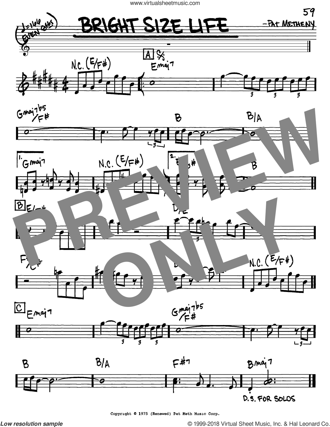 Bright Size Life sheet music for voice and other instruments (Eb) by Pat Metheny