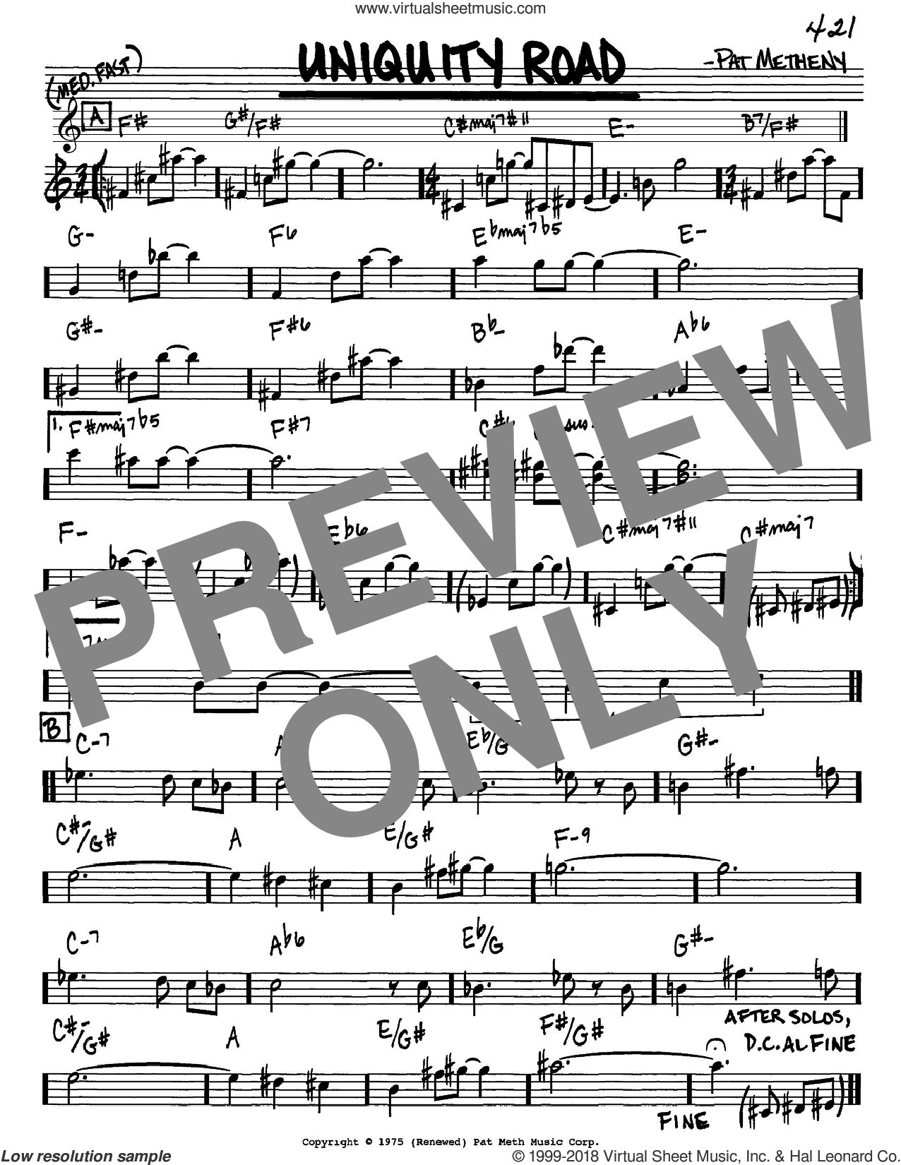 Uniquity Road sheet music for voice and other instruments (in Eb) by Pat Metheny, intermediate