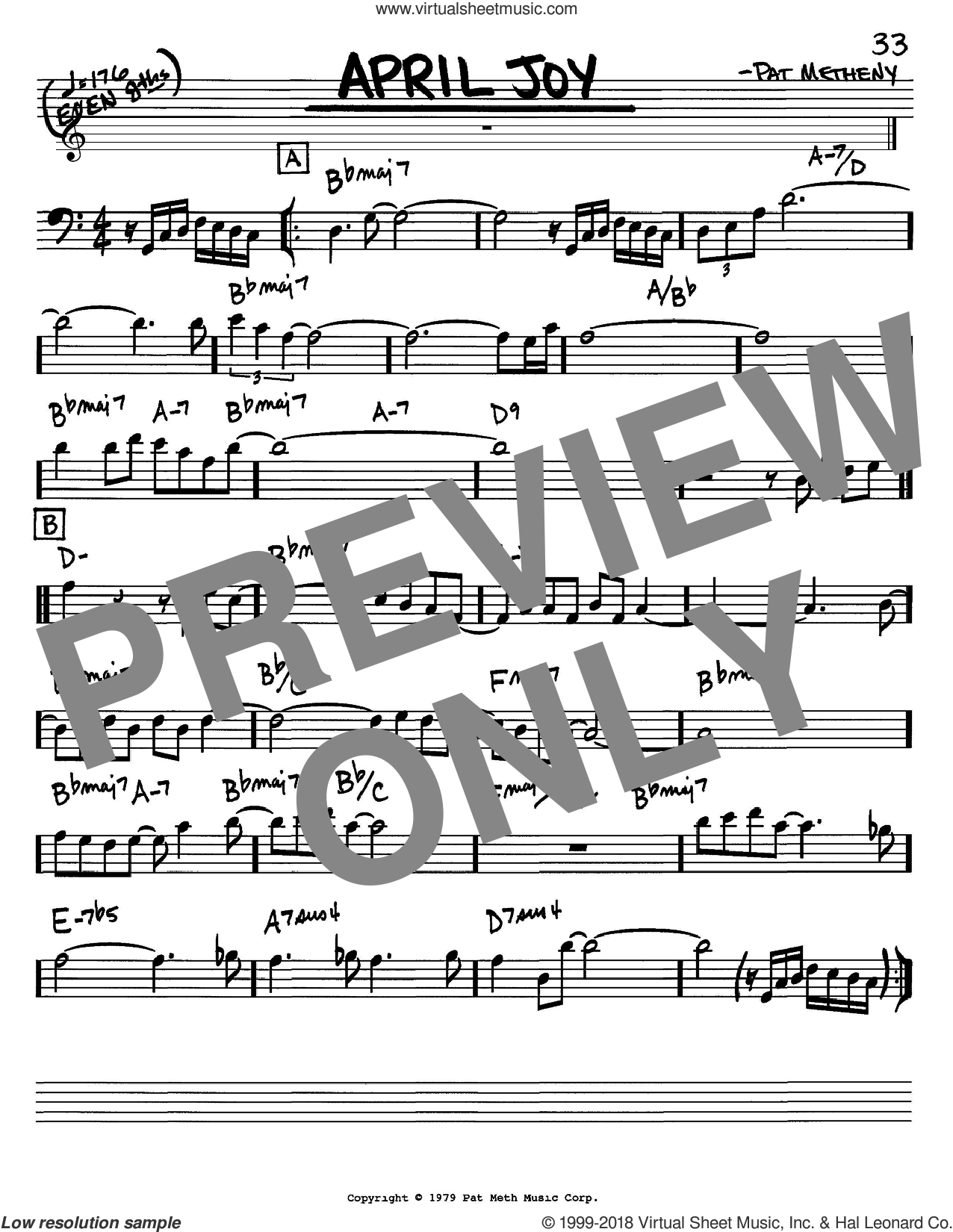 April Joy sheet music for voice and other instruments (bass clef) by Pat Metheny, intermediate. Score Image Preview.