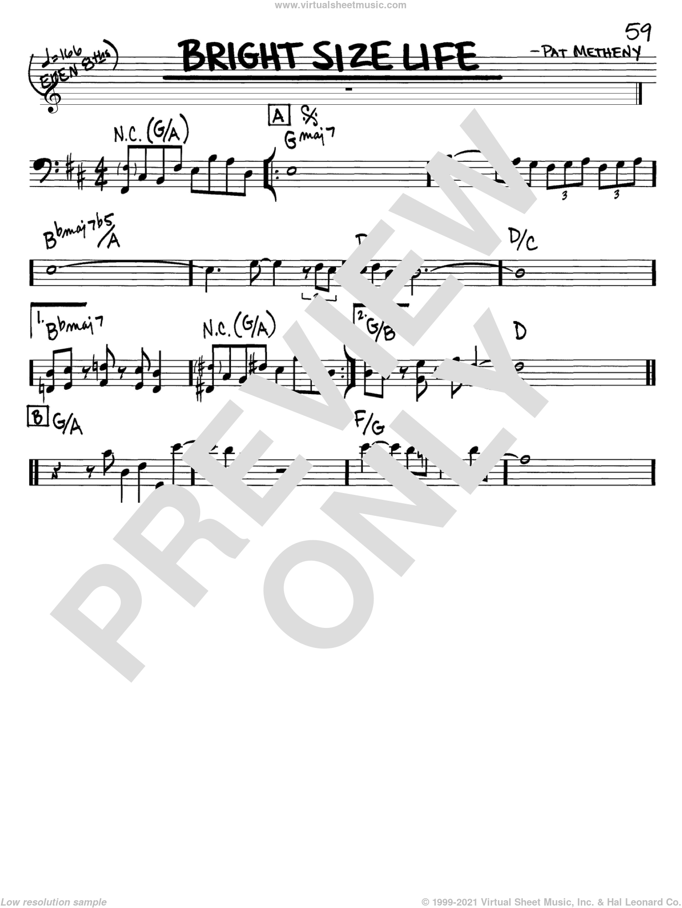 Bright Size Life sheet music for voice and other instruments (Bass Clef ) by Pat Metheny. Score Image Preview.