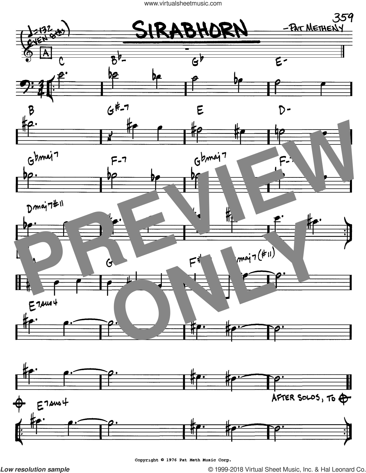 Sirabhorn sheet music for voice and other instruments (Bass Clef ) by Pat Metheny. Score Image Preview.