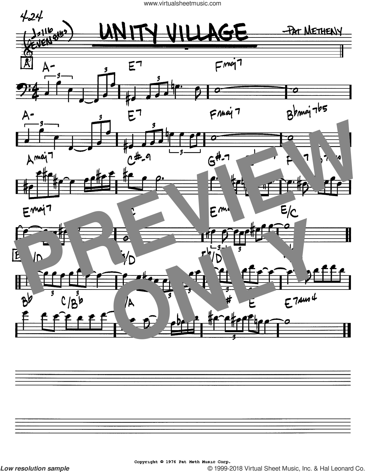 Unity Village sheet music for voice and other instruments (Bass Clef ) by Pat Metheny. Score Image Preview.