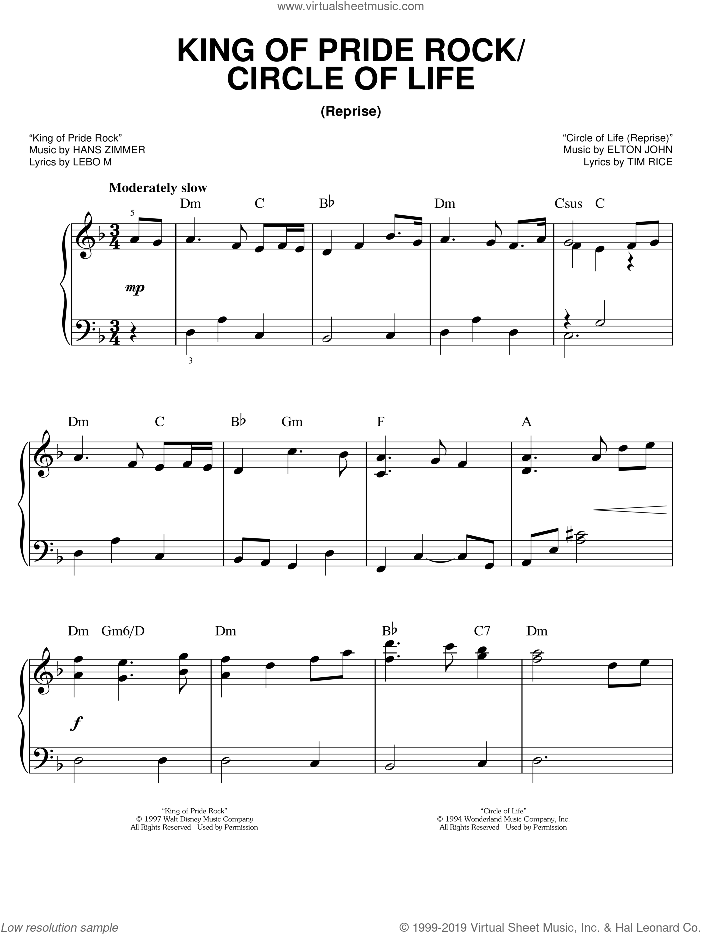 King Of Pride Rock (from The Lion King: Broadway Musical) sheet music for piano solo by Elton John, The Lion King (Musical), Hans Zimmer, Lebo M. and Tim Rice, easy skill level