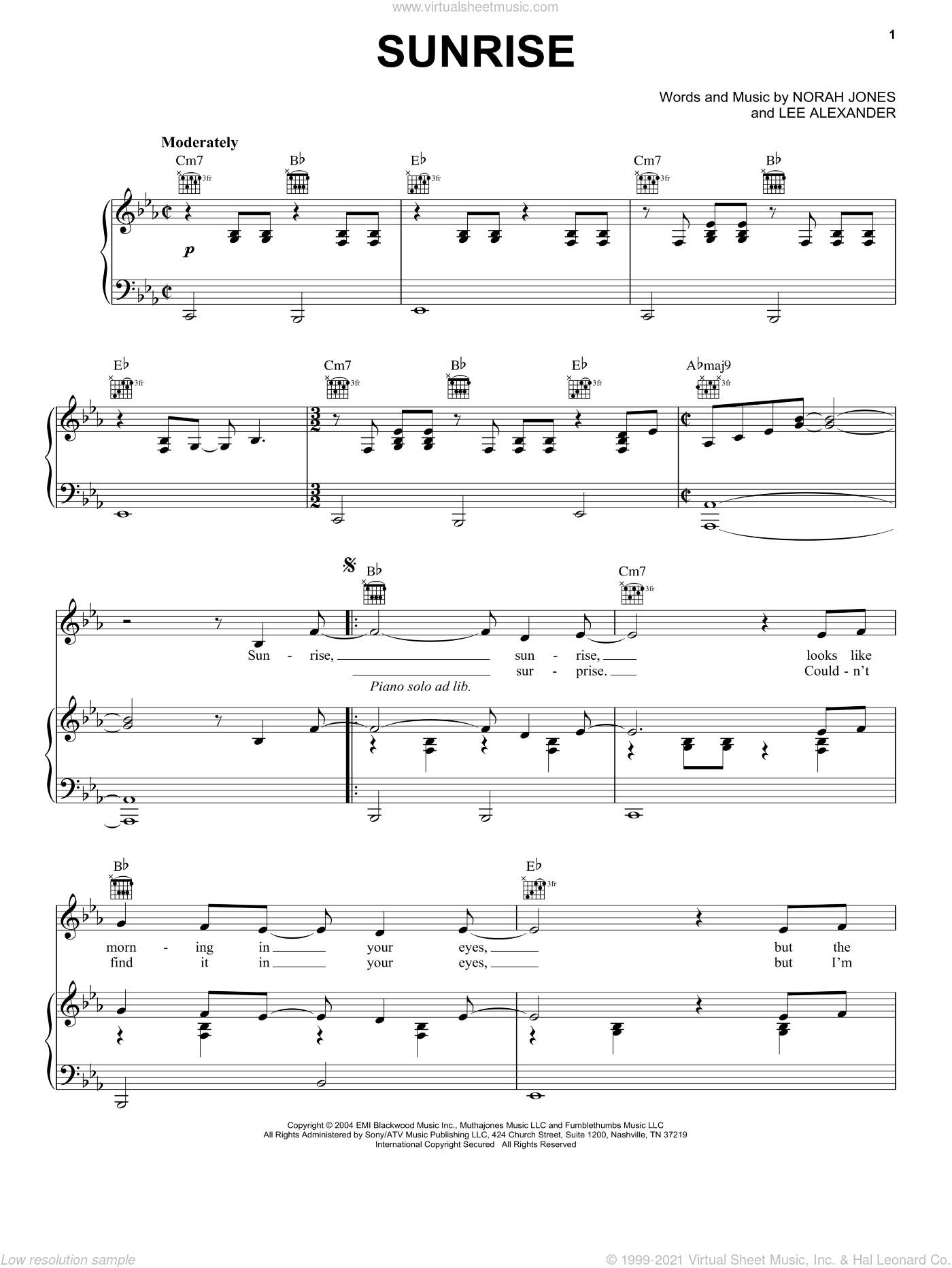 Sunrise sheet music for voice, piano or guitar by Norah Jones and Lee Alexander, intermediate skill level