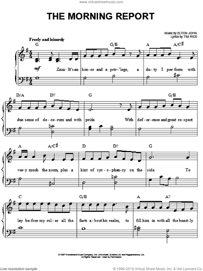 The Morning Report (from The Lion King: Broadway Musical) sheet music for piano solo by Elton John, The Lion King (Musical) and Tim Rice, easy skill level