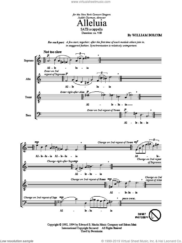 Alleluia sheet music for choir (SATB: soprano, alto, tenor, bass) by William Bolcom, intermediate skill level