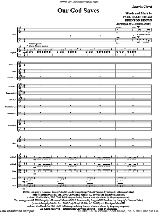 Our God Saves (COMPLETE) sheet music for orchestra by Paul Baloche, Brenton Brown and J. Daniel Smith, intermediate. Score Image Preview.