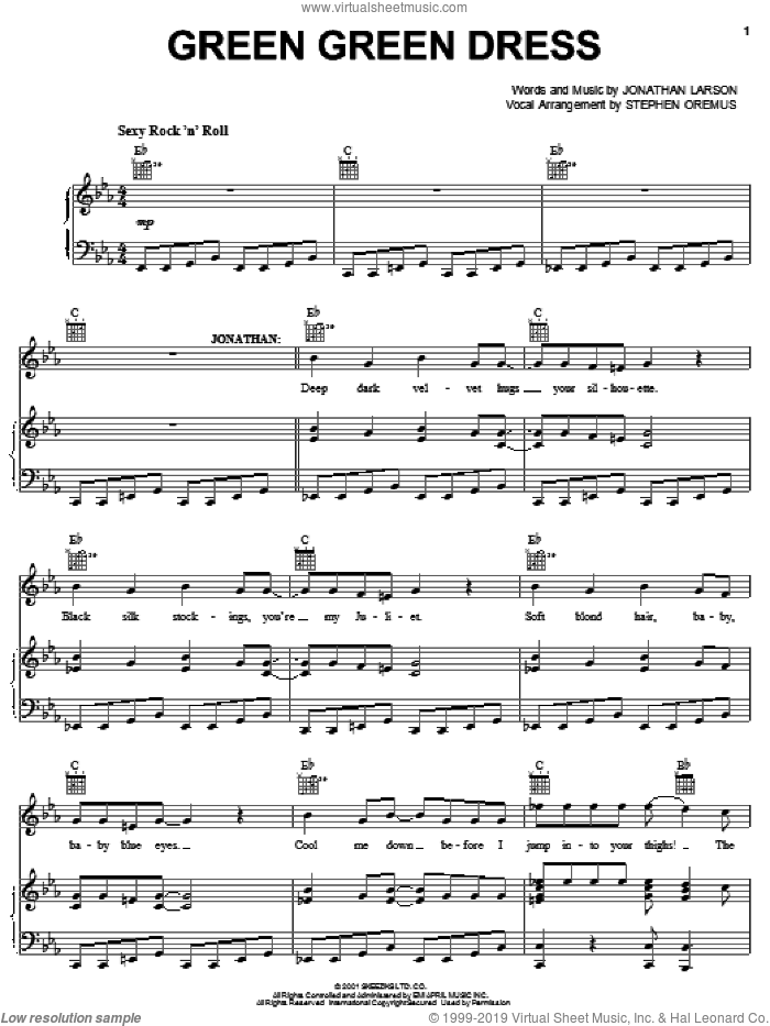 Green Green Dress sheet music for voice, piano or guitar by Jonathan Larson. Score Image Preview.