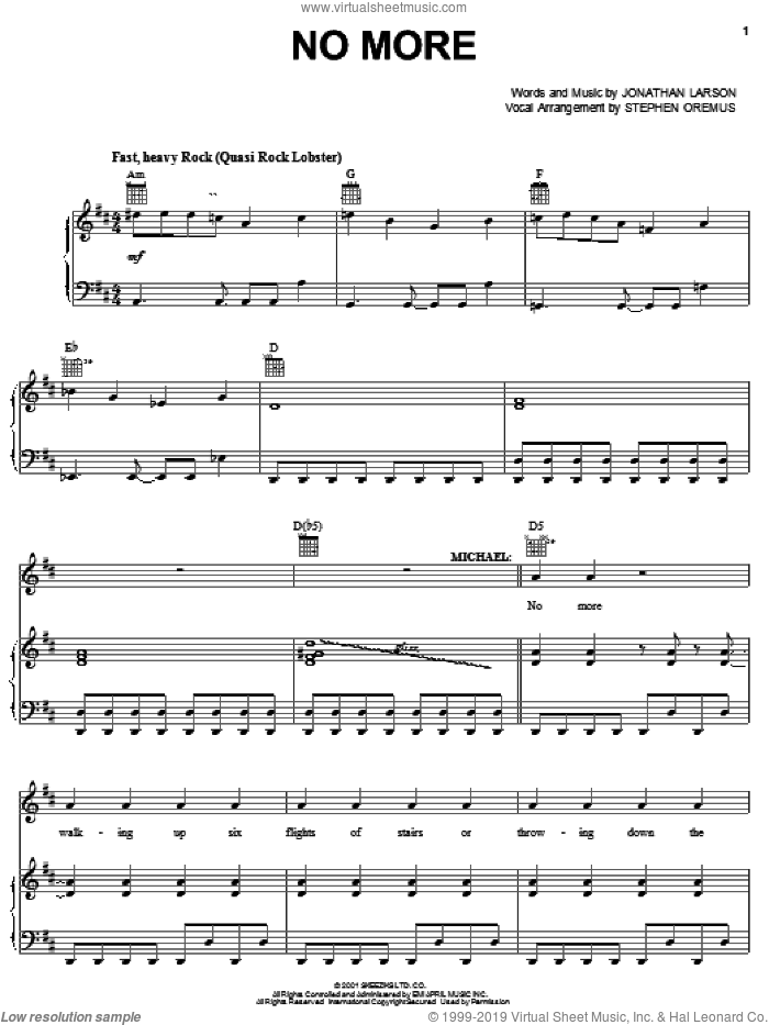 No More sheet music for voice, piano or guitar by Jonathan Larson. Score Image Preview.