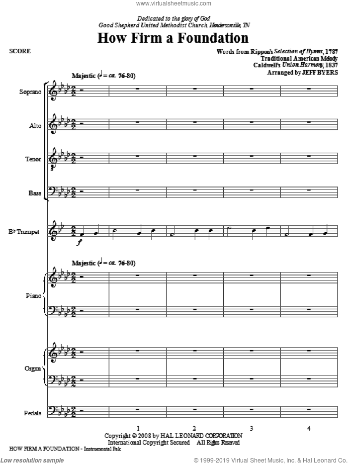 How Firm A Foundation (COMPLETE) sheet music for orchestra/band (Special) by John Rippon, Joseph Funk and Jeff Byers, intermediate skill level