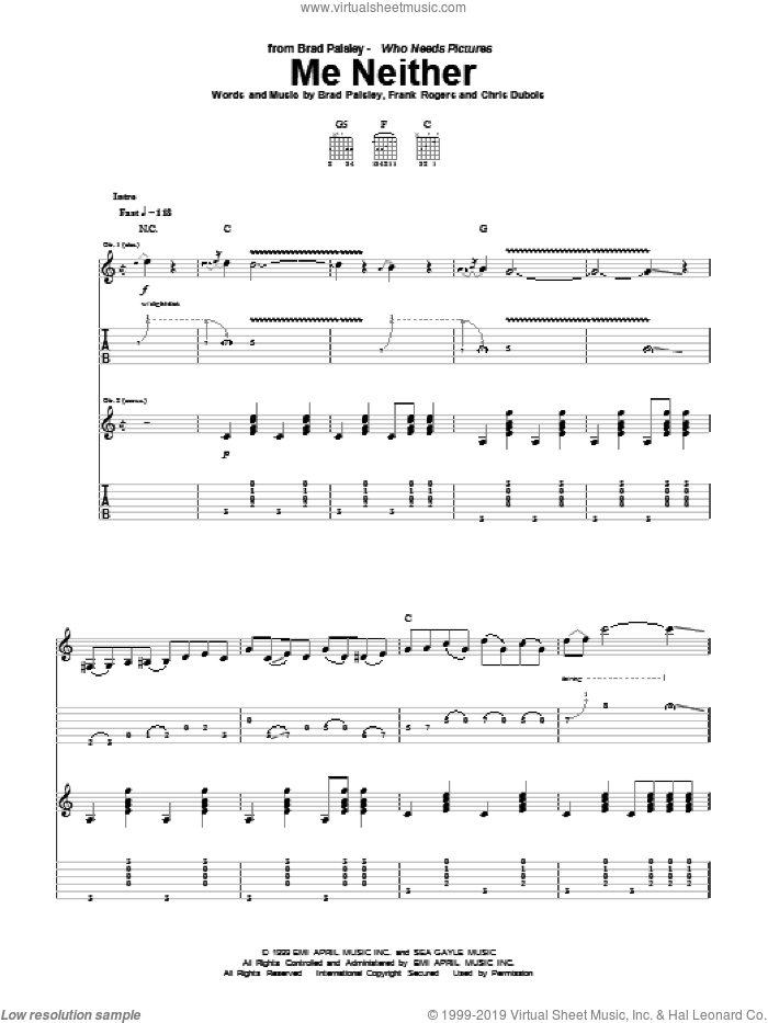 Me Neither sheet music for guitar (tablature) by Frank Rogers
