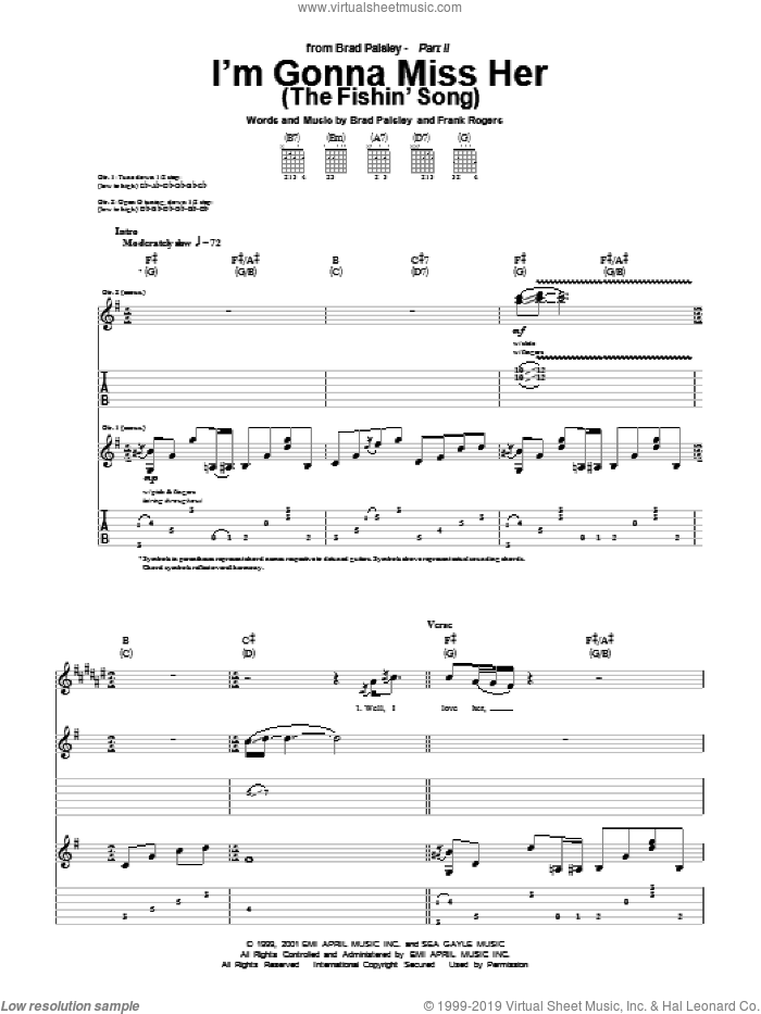 I'm Gonna Miss Her (The Fishin' Song) sheet music for guitar (tablature) by Frank Rogers and Brad Paisley