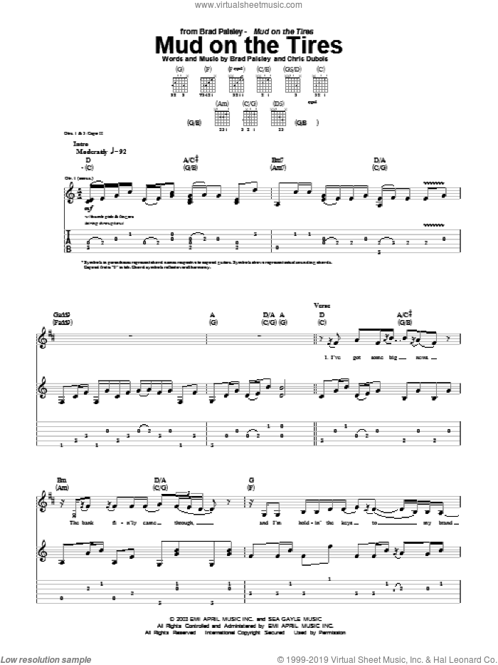Mud On The Tires sheet music for guitar (tablature) by Chris DuBois and Brad Paisley. Score Image Preview.