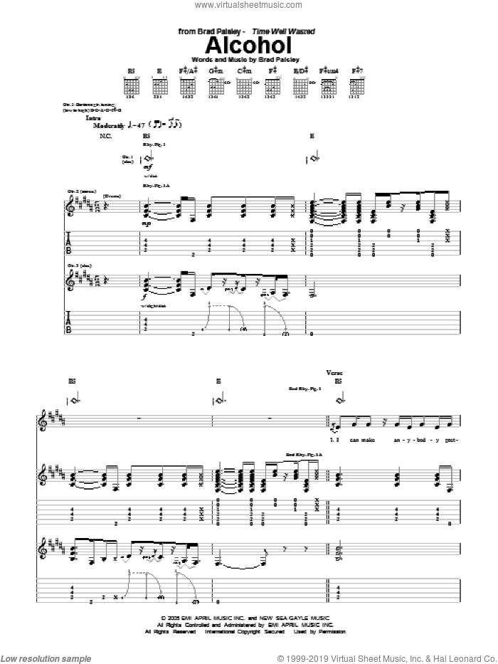 Alcohol sheet music for guitar (tablature) by Brad Paisley. Score Image Preview.