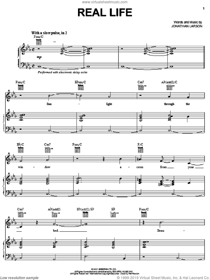 Real Life sheet music for voice, piano or guitar by Jonathan Larson, intermediate. Score Image Preview.
