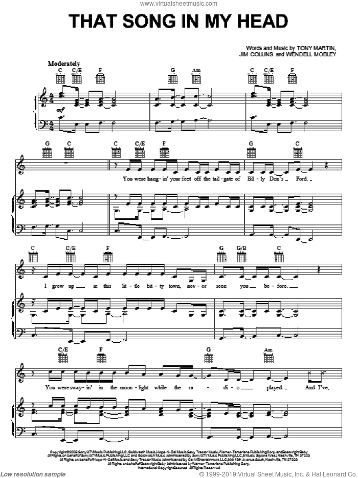 That Song In My Head sheet music for voice, piano or guitar by Wendell Mobley, Julianne Hough, Jim Collins and Tony Martin. Score Image Preview.