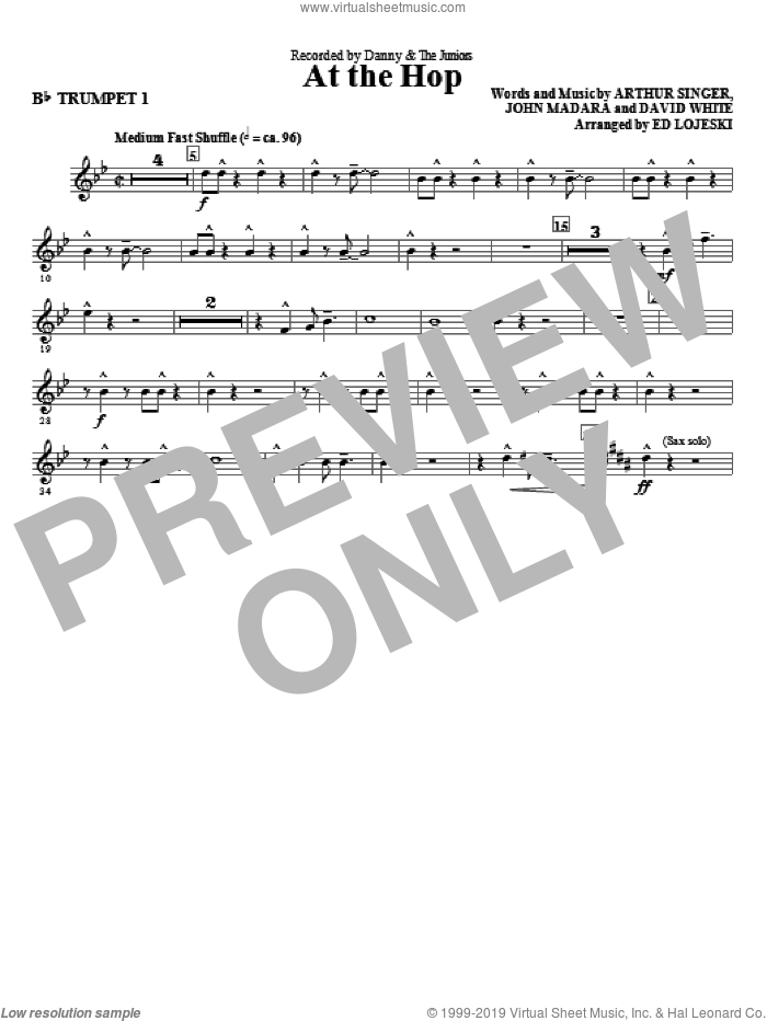 At The Hop (complete set of parts) sheet music for orchestra/band by Ed Lojeski, Arthur Singer, David White, John Madara and Danny & The Juniors, intermediate skill level