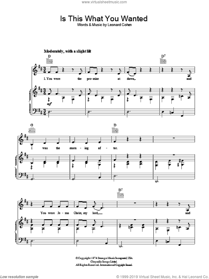 Is This What You Wanted sheet music for voice, piano or guitar by Leonard Cohen, intermediate. Score Image Preview.