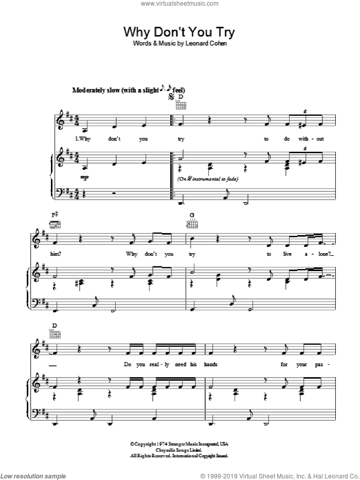 Why Don't You Try sheet music for voice, piano or guitar by Leonard Cohen. Score Image Preview.