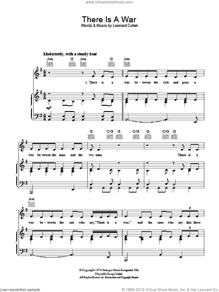 There Is A War sheet music for voice, piano or guitar by Leonard Cohen. Score Image Preview.