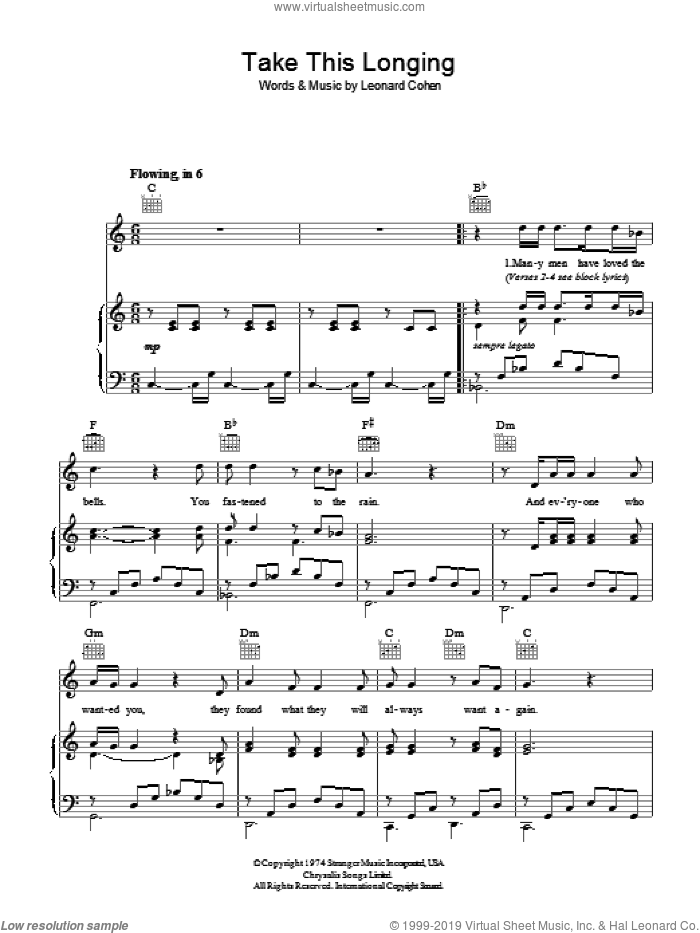 Take This Longing sheet music for voice, piano or guitar by Leonard Cohen, intermediate. Score Image Preview.