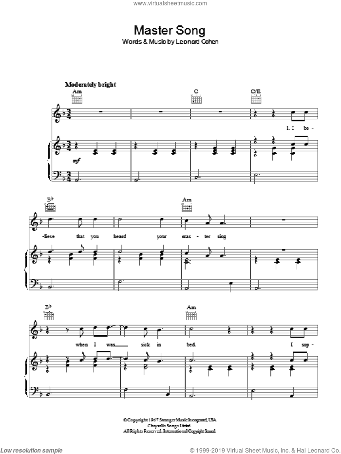 Master Song sheet music for voice, piano or guitar by Leonard Cohen, intermediate voice, piano or guitar. Score Image Preview.