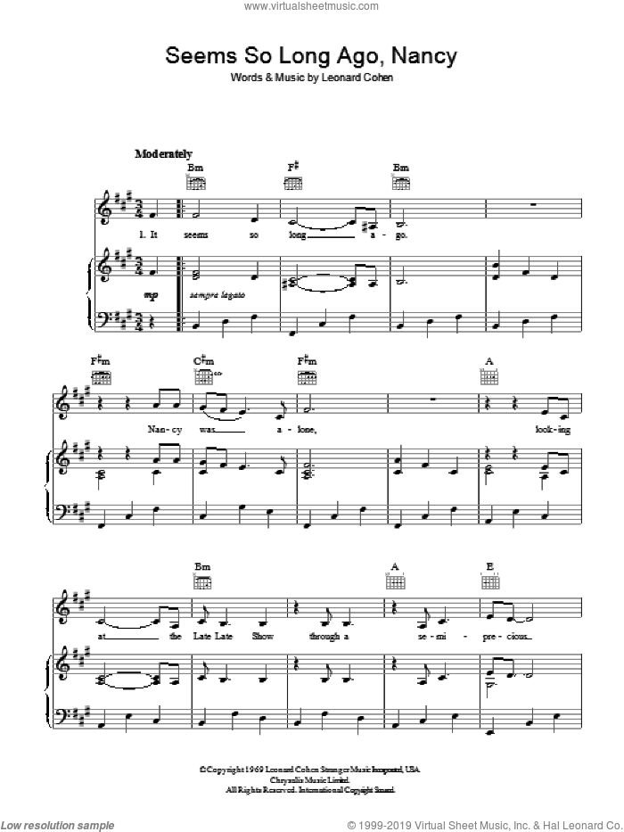 Seems So Long Ago, Nancy sheet music for voice, piano or guitar by Leonard Cohen. Score Image Preview.