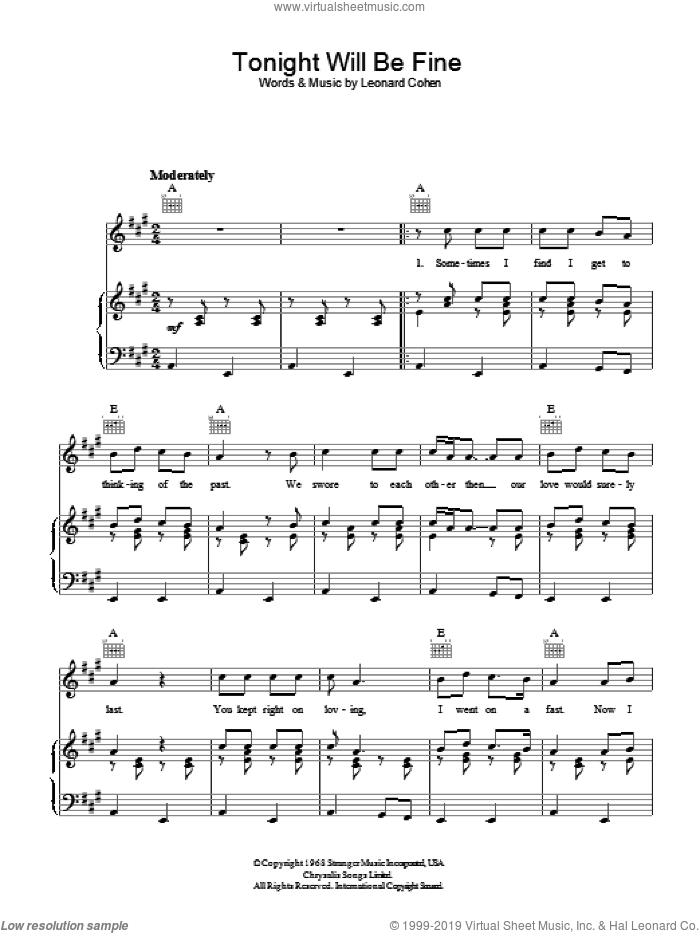 Tonight Will Be Fine sheet music for voice, piano or guitar by Leonard Cohen, intermediate. Score Image Preview.