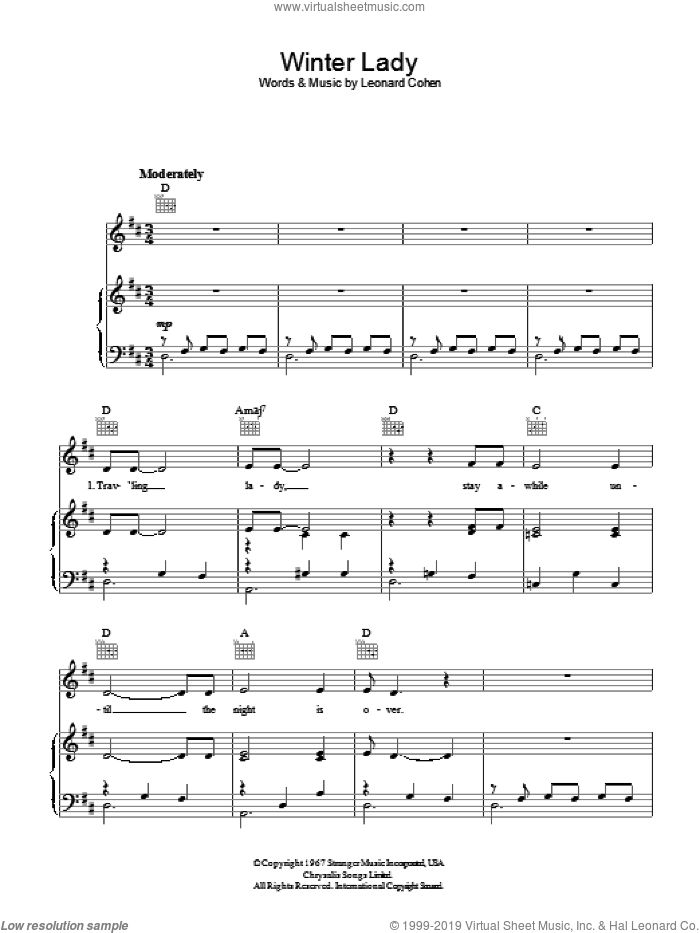 Winter Lady sheet music for voice, piano or guitar by Leonard Cohen, intermediate skill level