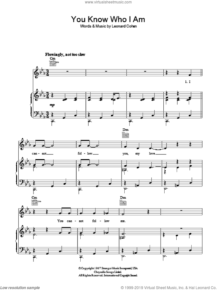 You Know Who I Am sheet music for voice, piano or guitar by Leonard Cohen. Score Image Preview.