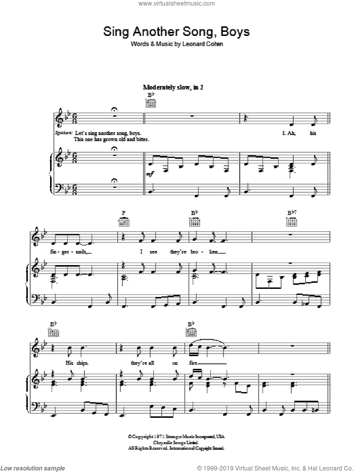 Sing Another Song, Boys sheet music for voice, piano or guitar by Leonard Cohen, intermediate