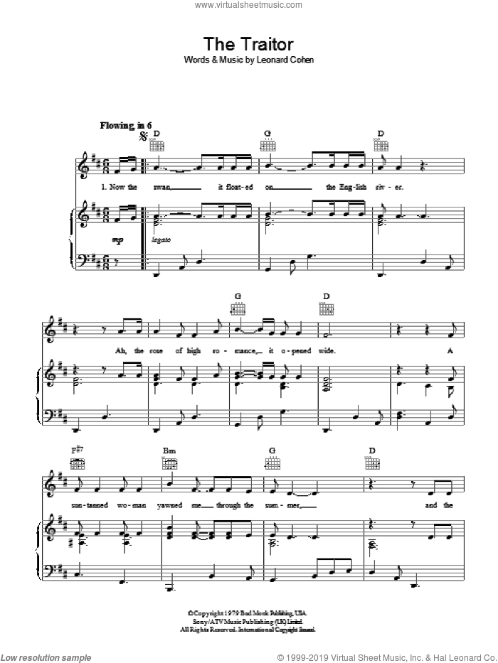 The Traitor sheet music for voice, piano or guitar by Leonard Cohen. Score Image Preview.