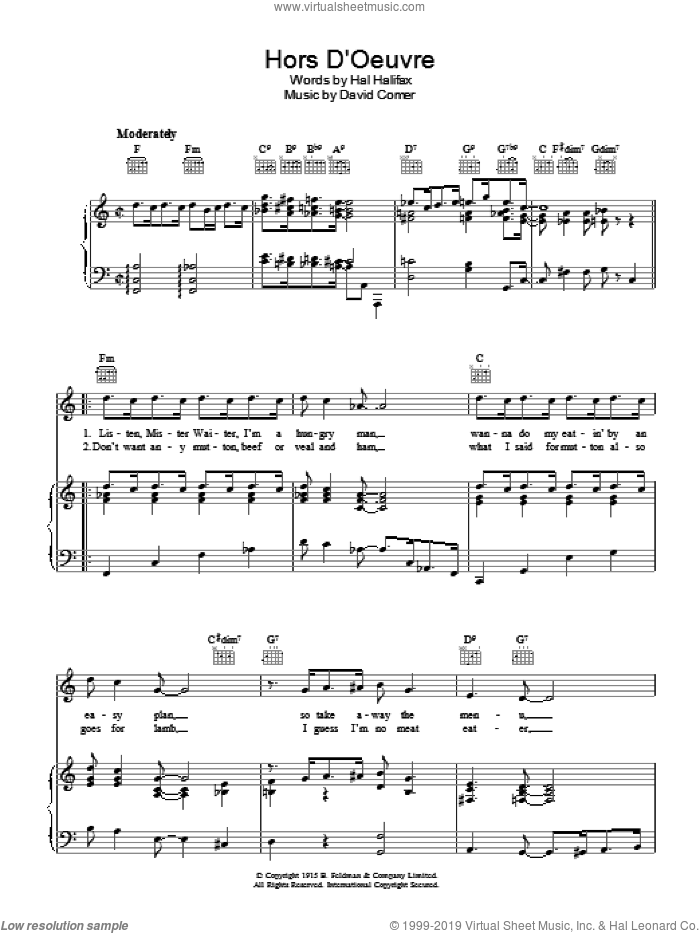 Hors D'Oeuvre sheet music for voice, piano or guitar by David Comer. Score Image Preview.