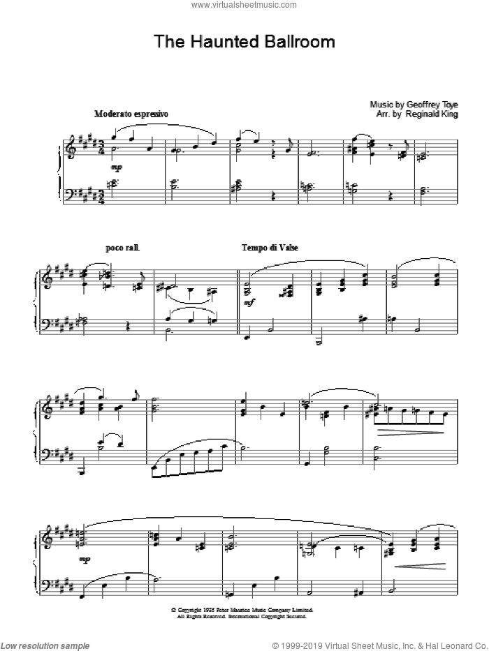Haunted Ballroom sheet music for piano solo by Geoffrey Toye. Score Image Preview.