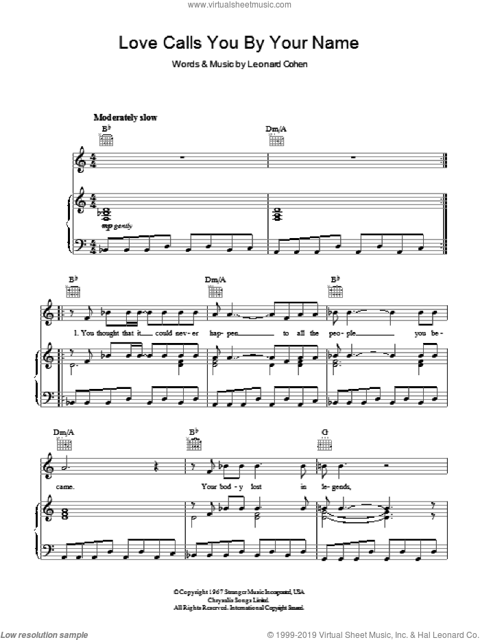 Love Calls You By Your Name sheet music for voice, piano or guitar by Leonard Cohen, intermediate voice, piano or guitar. Score Image Preview.
