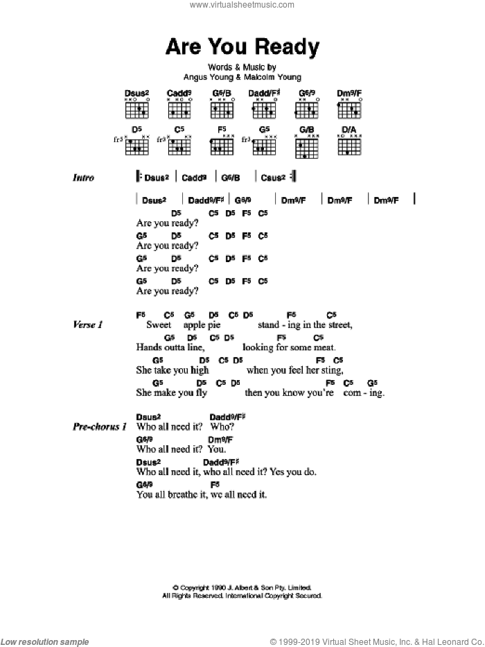 Are You Ready sheet music for guitar (chords) by Angus Young, AC/DC and Malcolm Young. Score Image Preview.