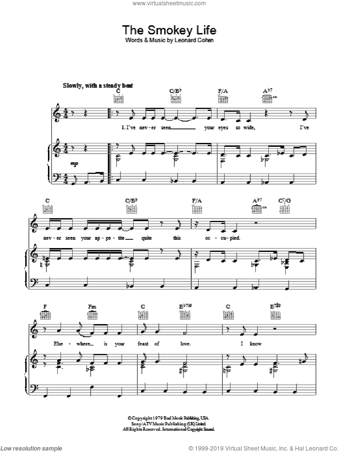 The Smokey Life sheet music for voice, piano or guitar by Leonard Cohen. Score Image Preview.