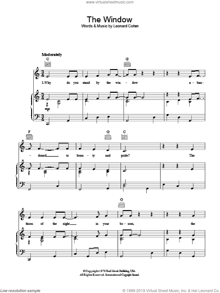 The Window sheet music for voice, piano or guitar by Leonard Cohen, intermediate. Score Image Preview.