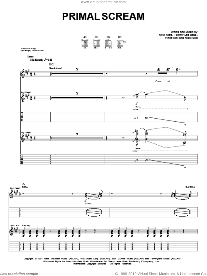 Primal Scream sheet music for guitar (tablature) by Motley Crue, Mick Mars, Nikki Sixx, Tommy Lee and Vince Neil, intermediate. Score Image Preview.