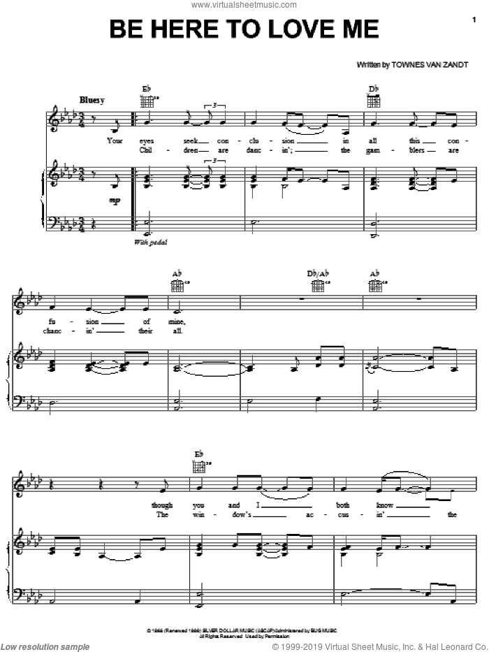 Be Here To Love Me sheet music for voice, piano or guitar by Townes Van Zandt and Norah Jones. Score Image Preview.