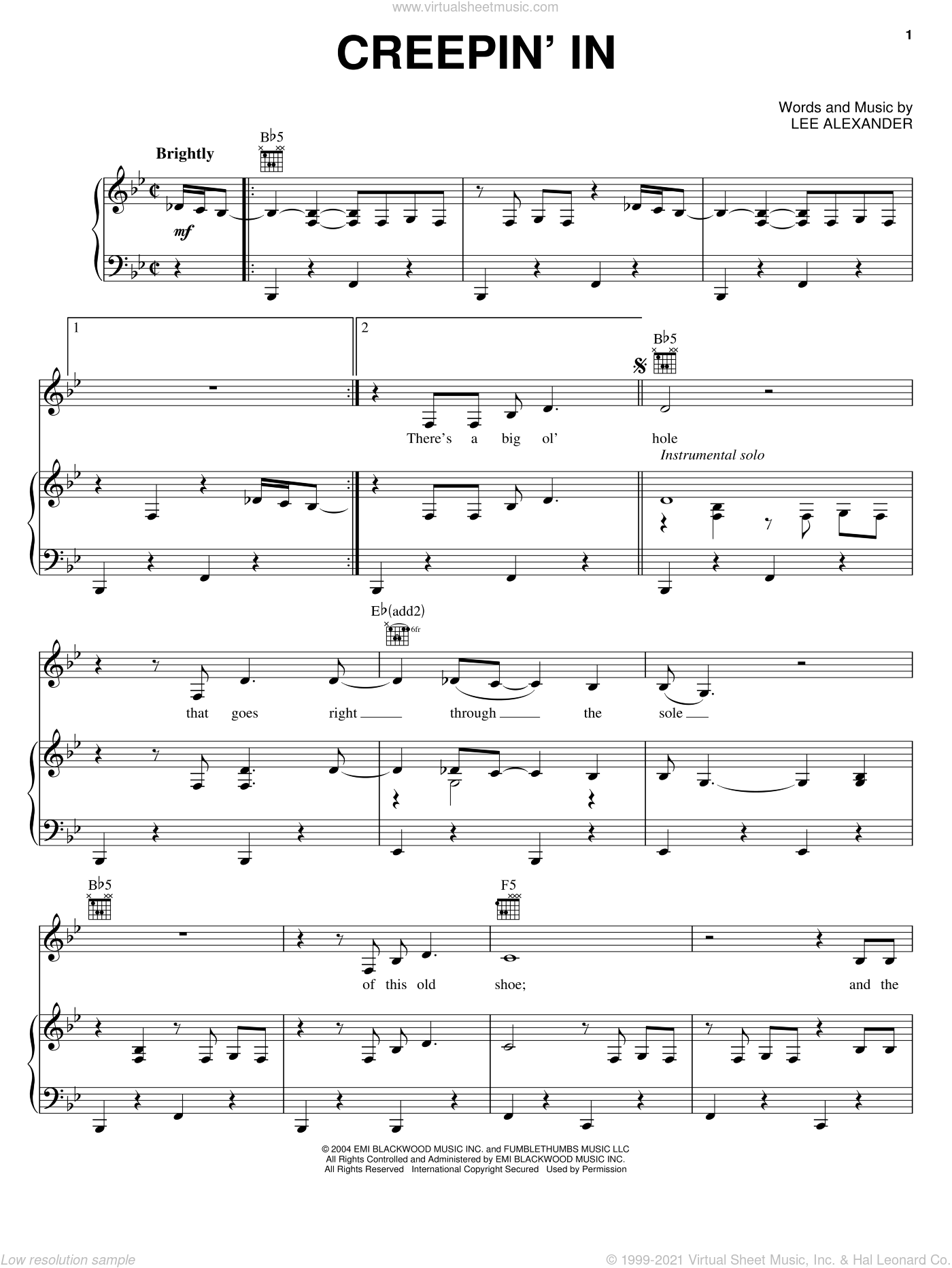 Creepin' In sheet music for voice, piano or guitar by Norah Jones and Lee Alexander, intermediate skill level