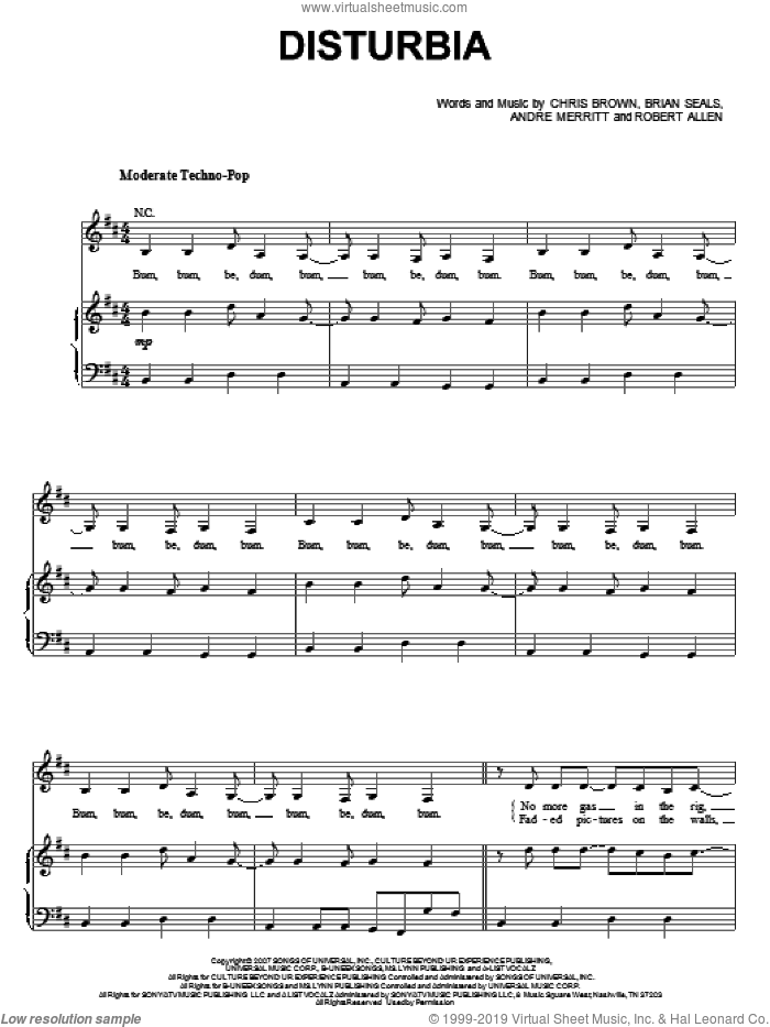 Disturbia sheet music for voice, piano or guitar by Rihanna, Andre Merritt, Brian Seals, Chris Brown and Robert Allen, intermediate skill level