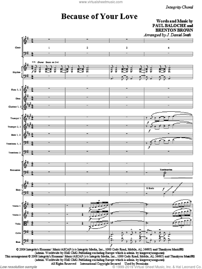 Because Of Your Love (COMPLETE) sheet music for orchestra/band (Orchestra) by Paul Baloche, Brenton Brown and J. Daniel Smith, intermediate skill level