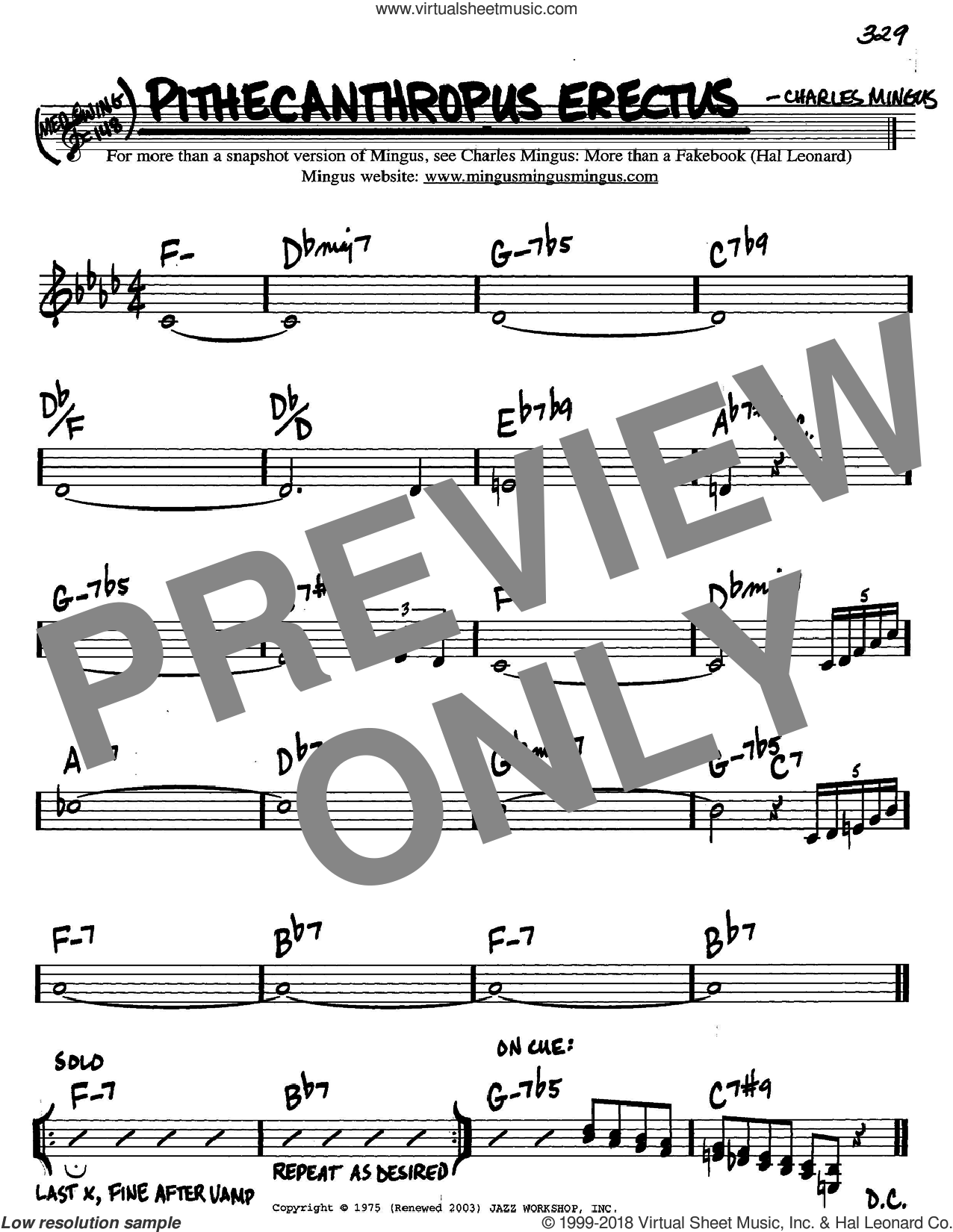 Pithecanthropus Erectus sheet music for voice and other instruments (C) by Charles Mingus, intermediate voice. Score Image Preview.